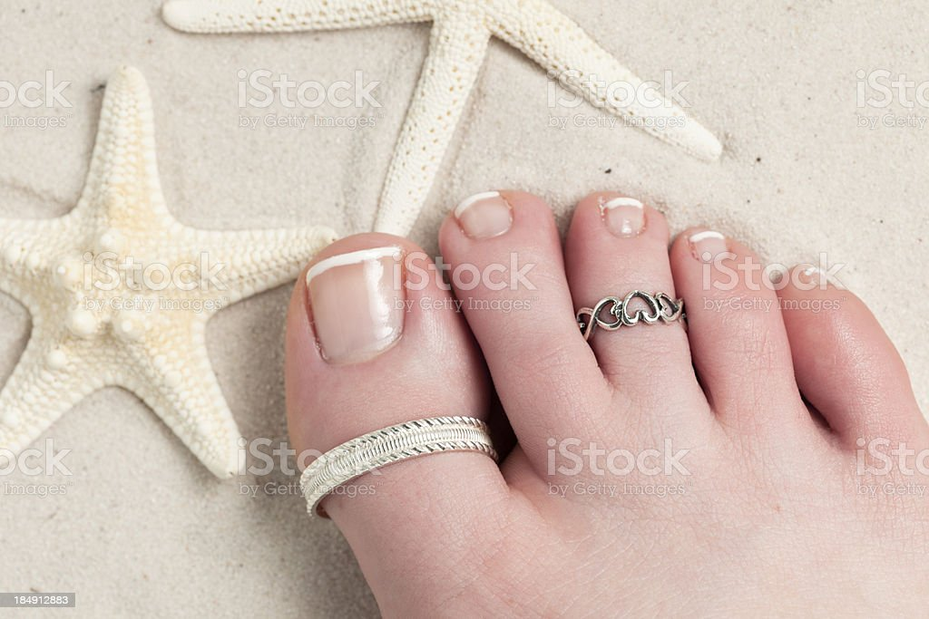 Toe Rings at the Beach stock photo