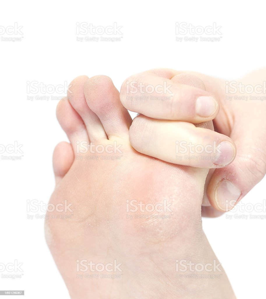 toe stretching root base stock photo
