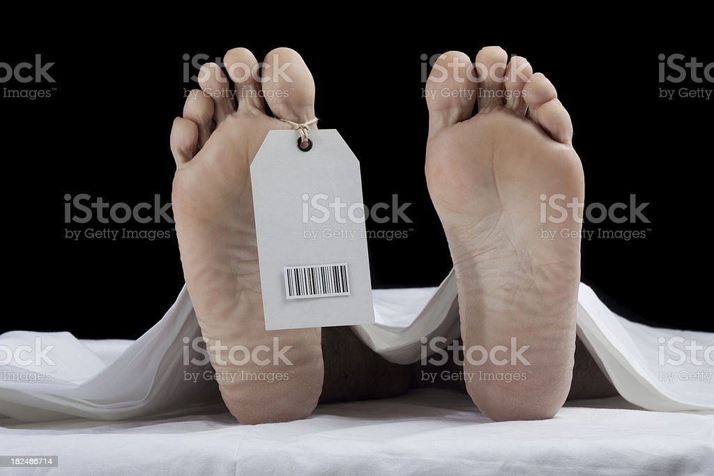 Toe tag with bar code on human foot stock photo