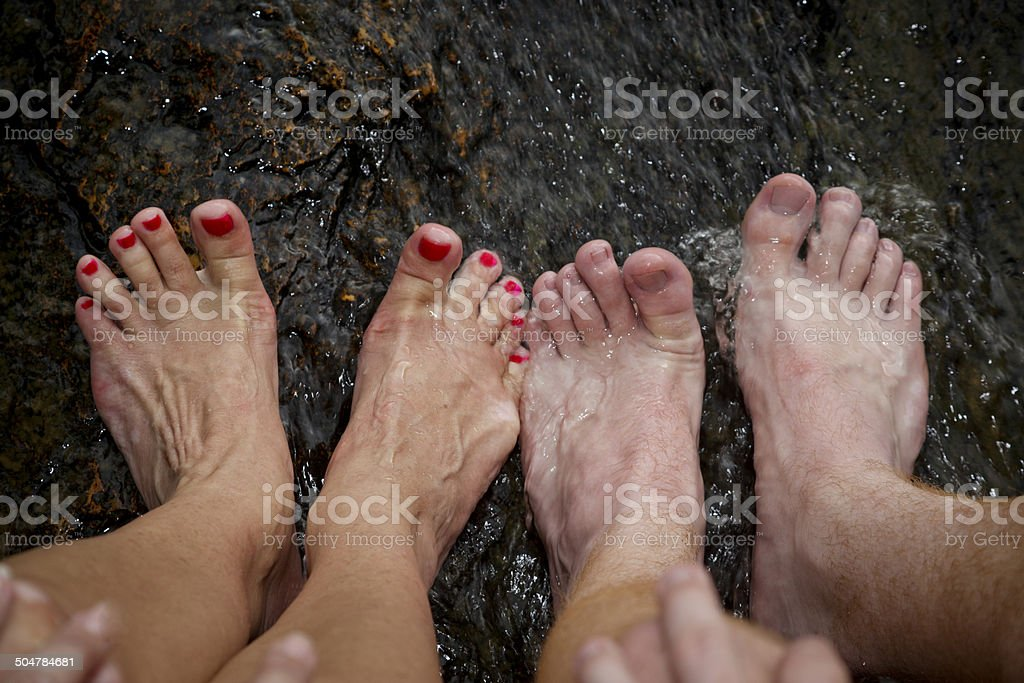 Toes In The River stock photo