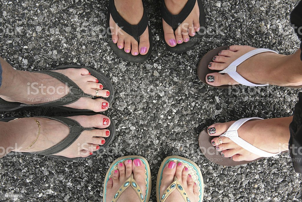 Toes in the Road stock photo