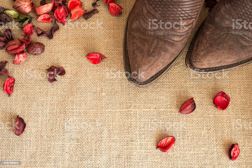 toes of country boots stock photo