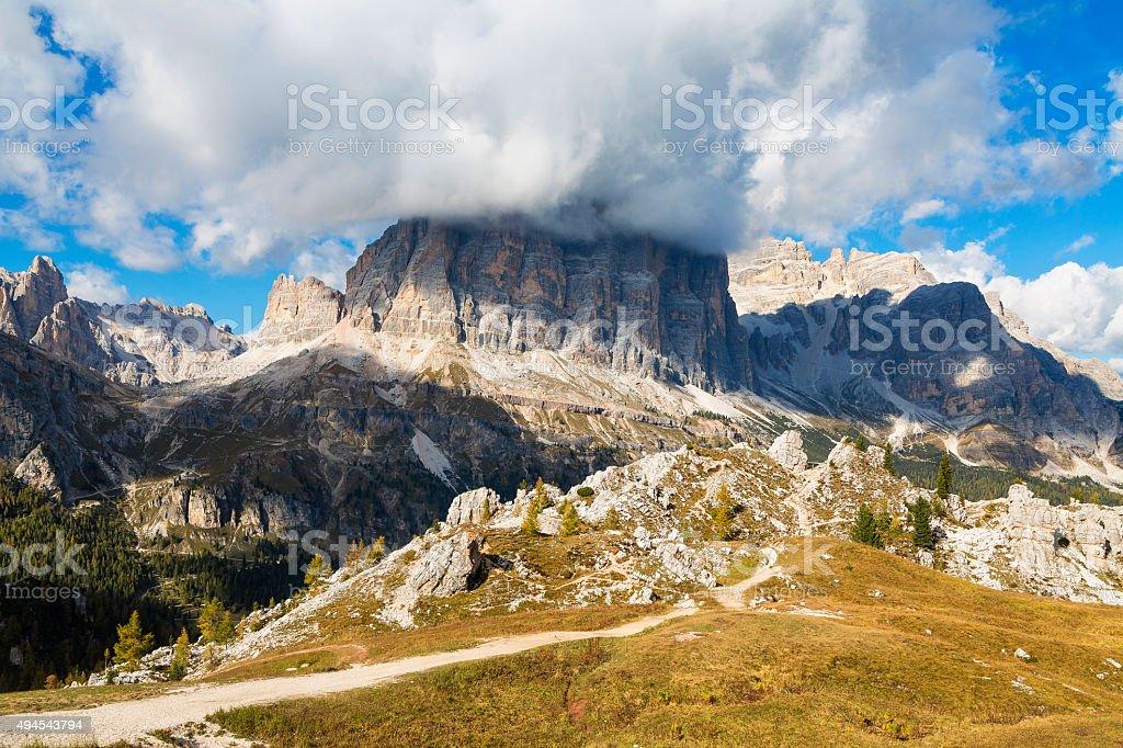 Tofana de Rozes mountain, Tofane massif, Veneto, Italy. stock photo
