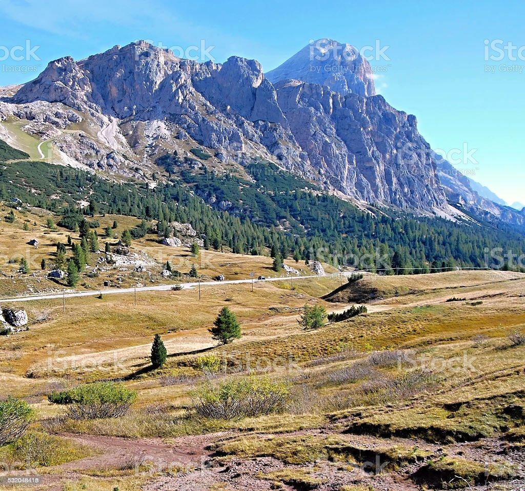 Tofana mountain group with meadows in autumn Dolomites stock photo