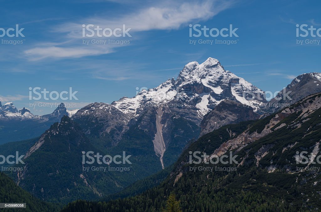 Tofane mountain group in the Italian Alps stock photo