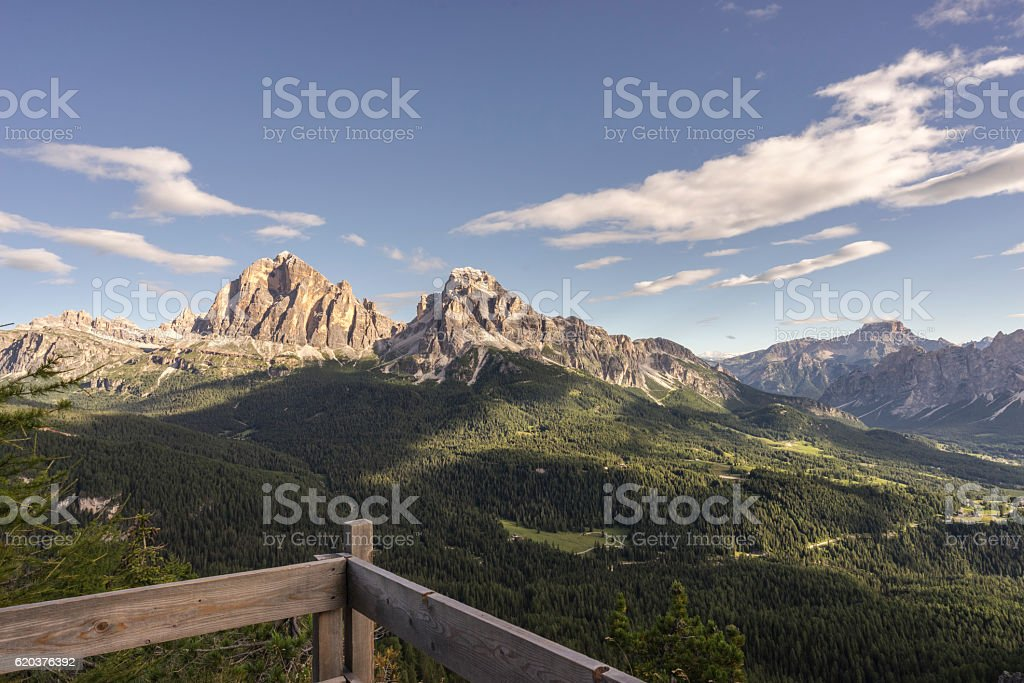 Tofaza de Rozes, Dolomites, Italy. stock photo