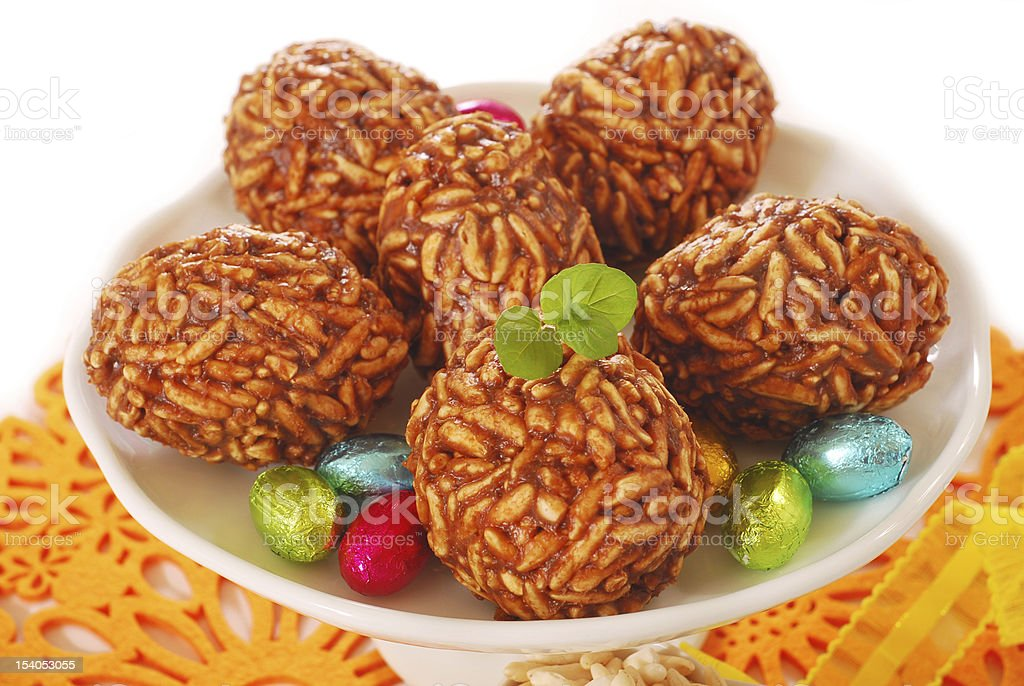 toffee and puffed rice eggs royalty-free stock photo