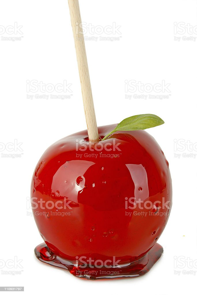 toffee apple stock photo