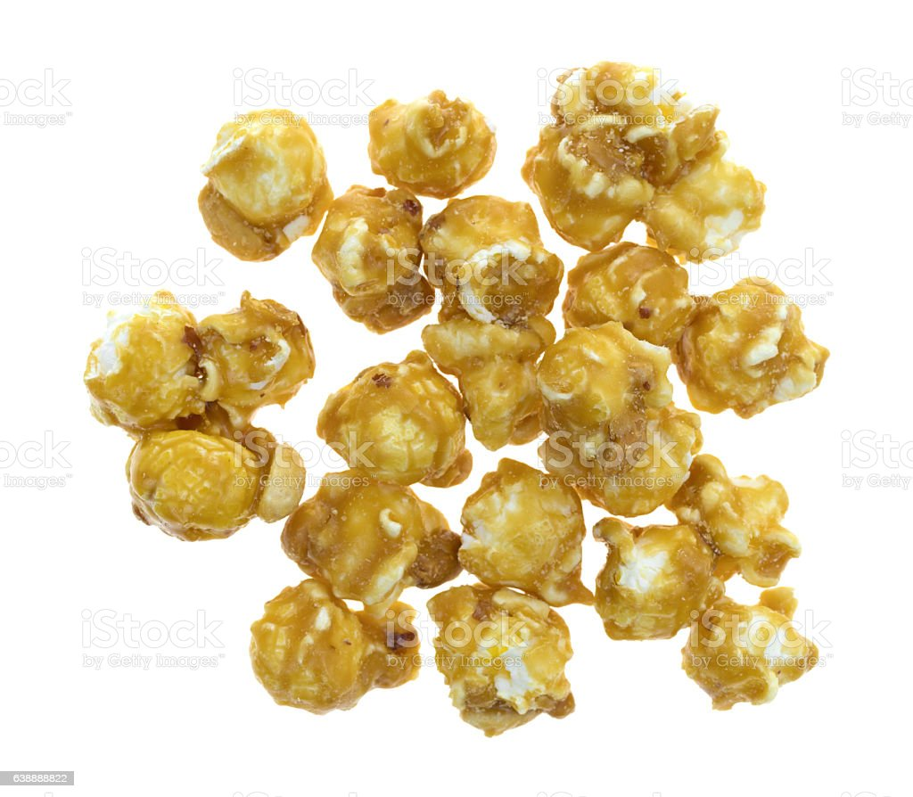 Toffee caramel popcorn on a white background stock photo