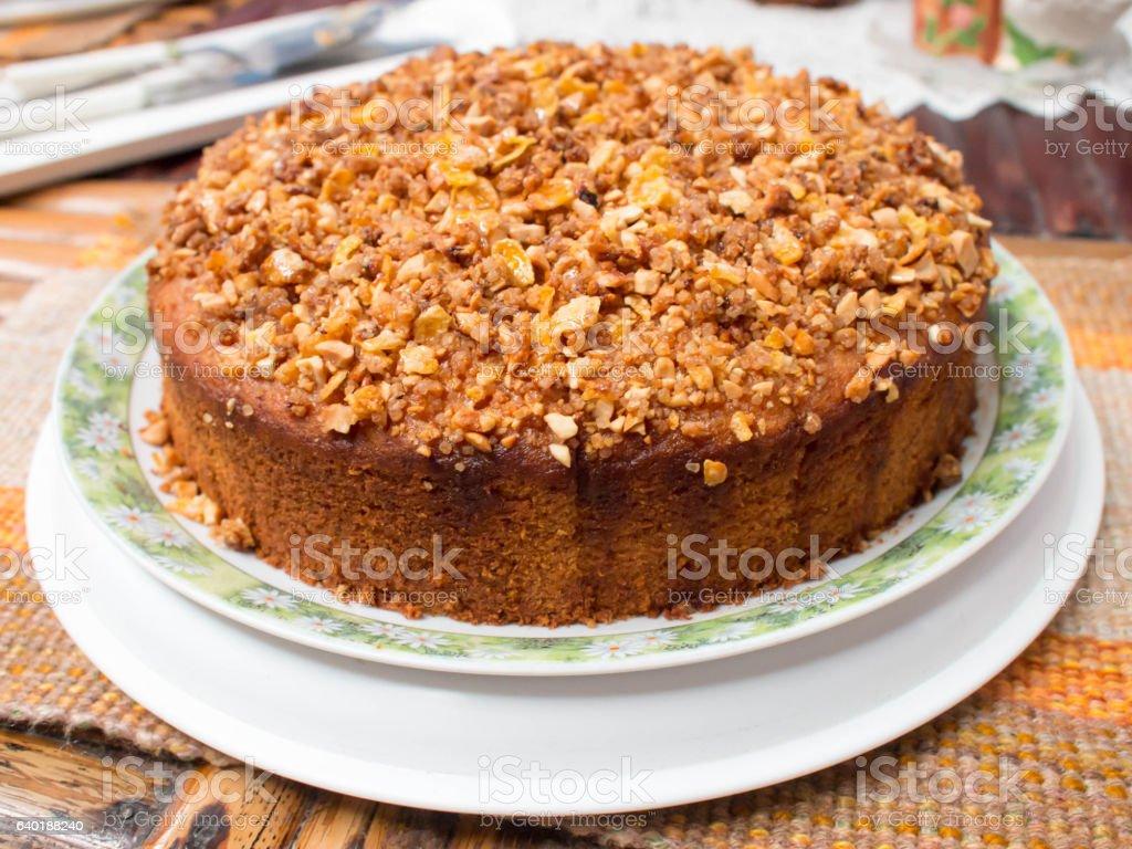 Toffee macadamia nut cake, warm toffee cake, homemade cake. stock photo