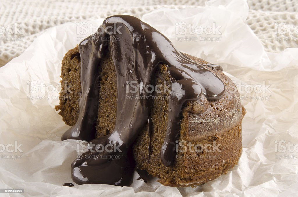 toffee pudding with chocolate sauce on paper royalty-free stock photo