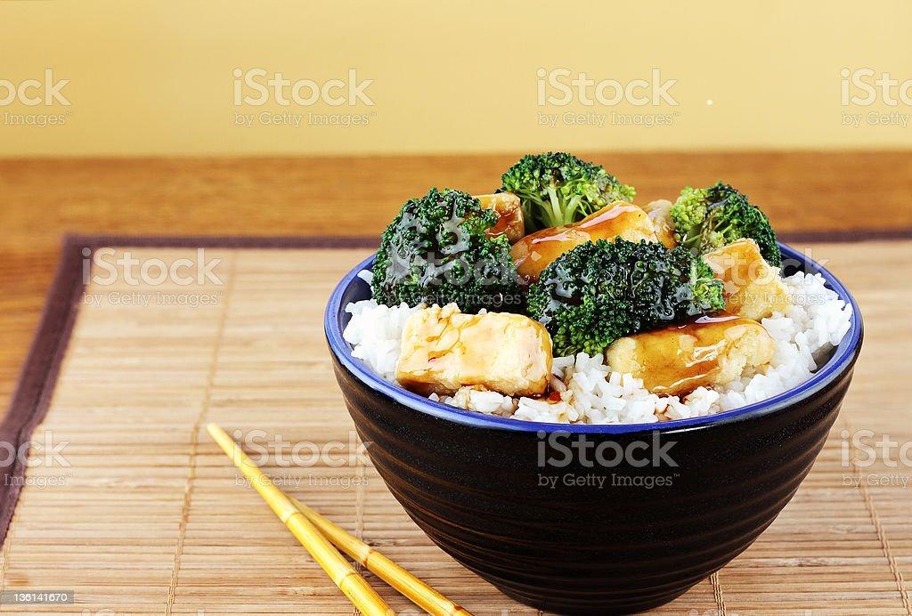 Tofu and Broccoli stock photo