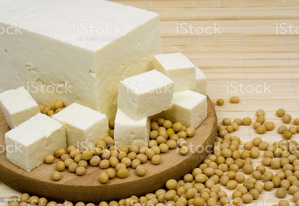 Tofu and soybeans royalty-free stock photo