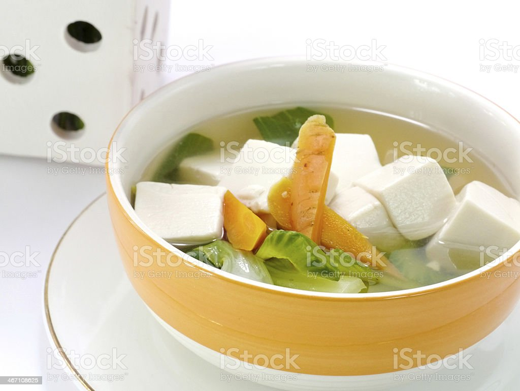 Tofu and vegetable soup. royalty-free stock photo