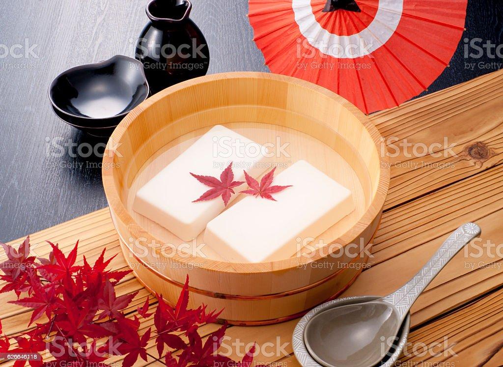 Tofu in water stock photo