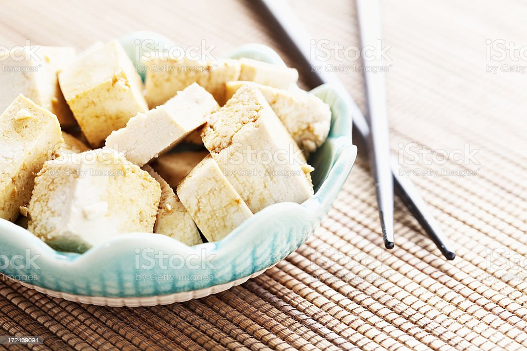 tofu marinating in soy sauce royalty-free stock photo