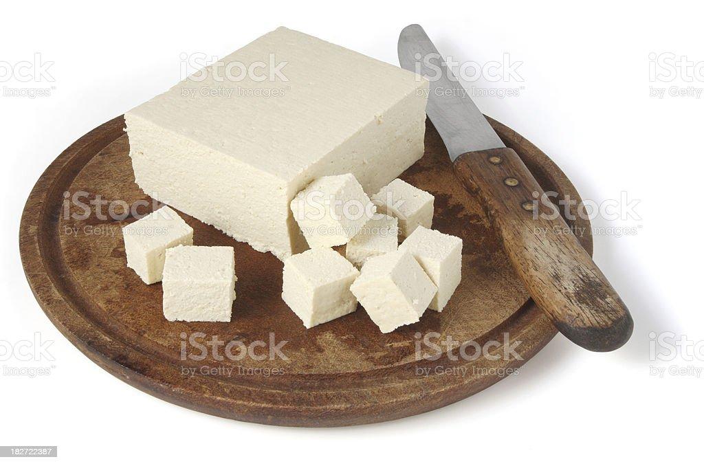 Tofu on Chopping Board royalty-free stock photo