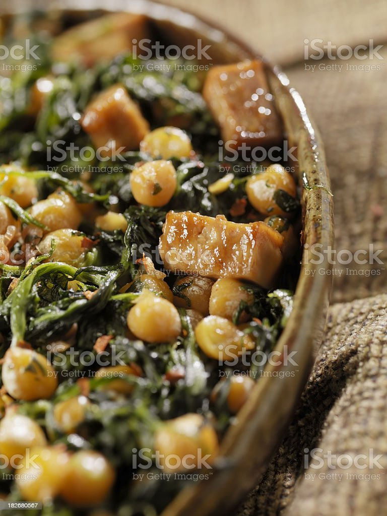 Tofu with ChickPeas and Spinich royalty-free stock photo