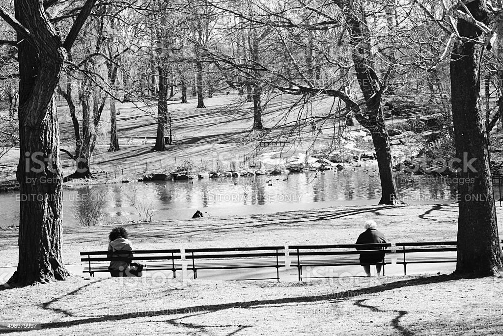 Together and Alone, Central Park, New York City, USA royalty-free stock photo