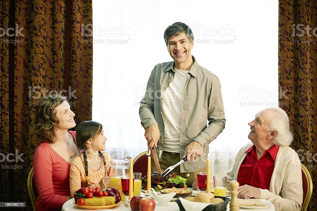 Together at festive table royalty-free stock photo