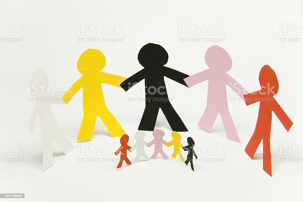 Together: better world with multi color peoples royalty-free stock photo