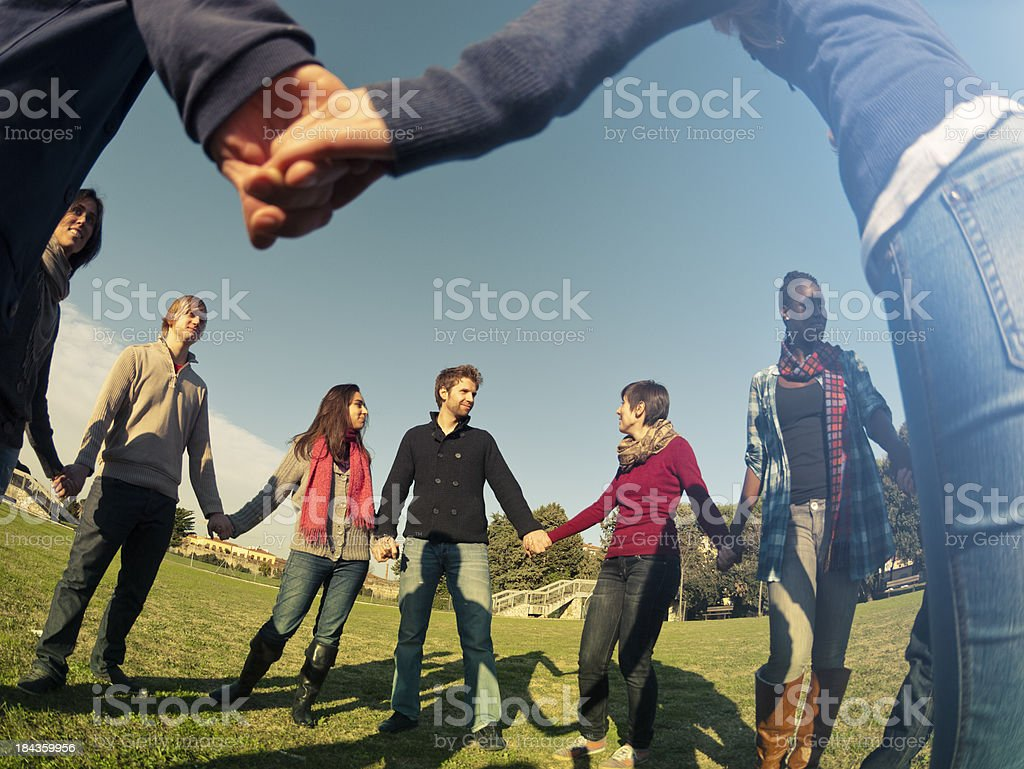 Together for a common idea - enjoy outdoors stock photo