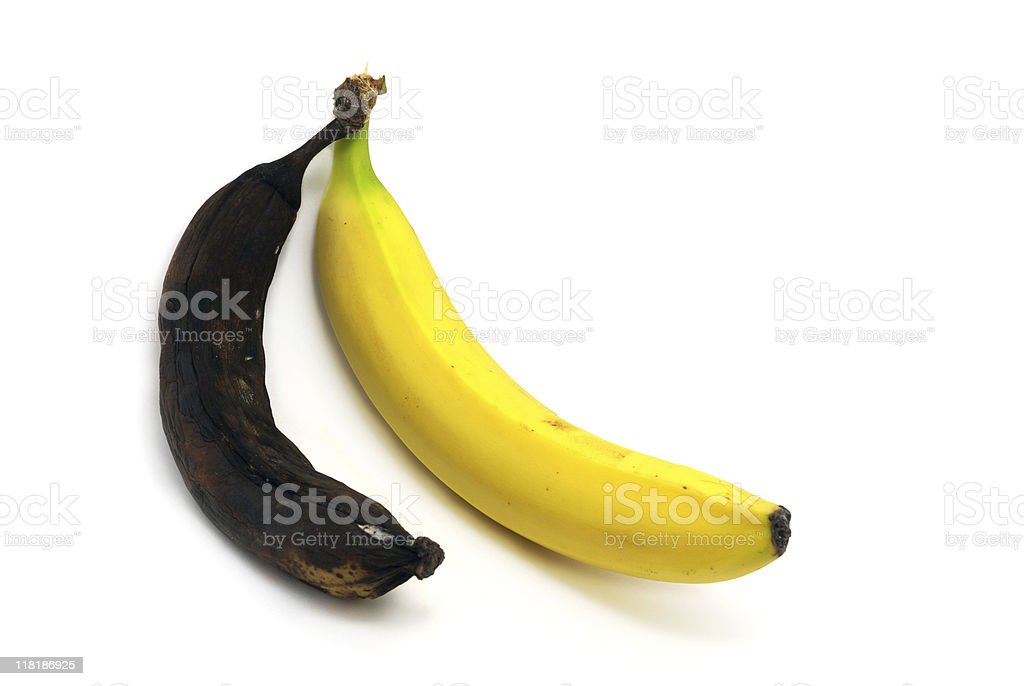 Together rotten and ripe bananas royalty-free stock photo