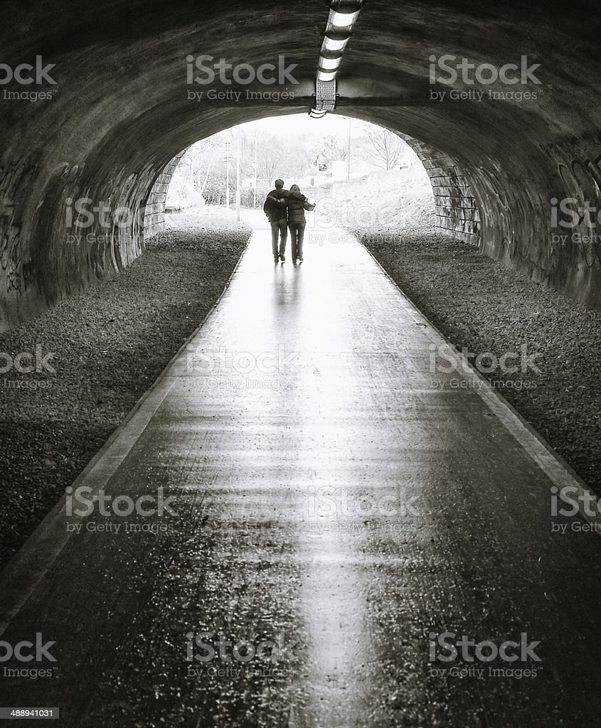 Together through a tunnel stock photo