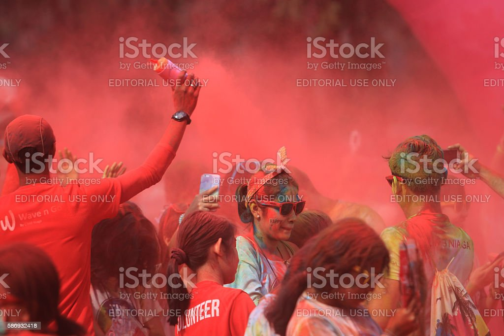 Togetherness in color run Jakarta stock photo