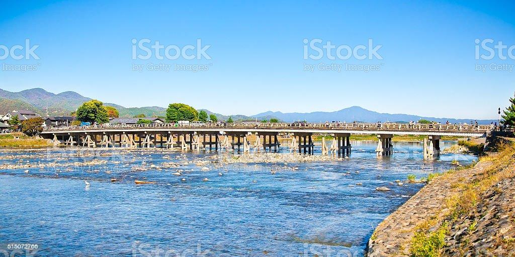 Togetsu-kyo Bridge in Kyoto, Japan stock photo