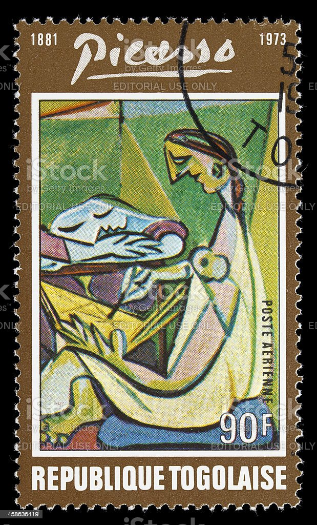 Togo Picasso painting postage stamp stock photo