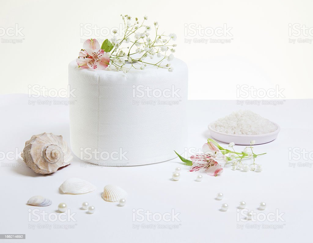Toiled Paper With Pink Flowers royalty-free stock photo