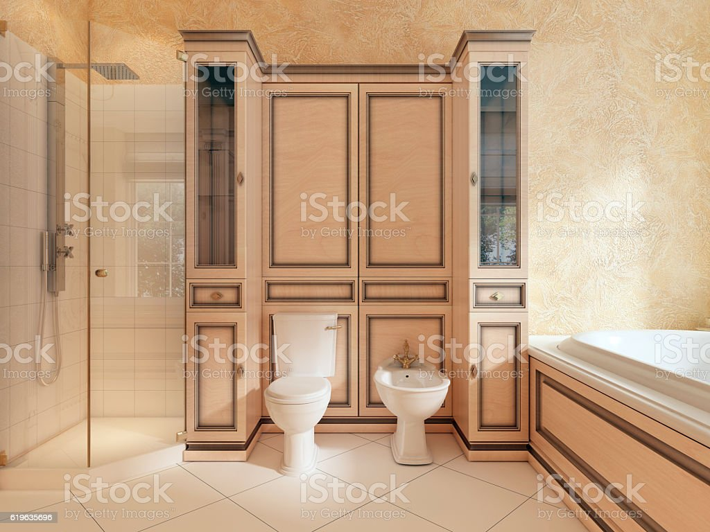 Toilet and bidet in classic bathroom. stock photo