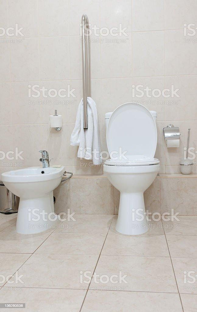 Toilet and bidet stock photo