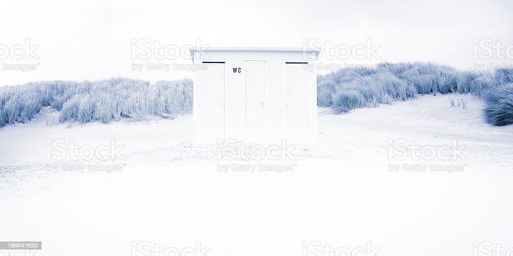 Toilet at the beach. stock photo