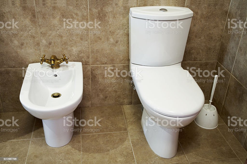 Toilet bowl and bidet stock photo