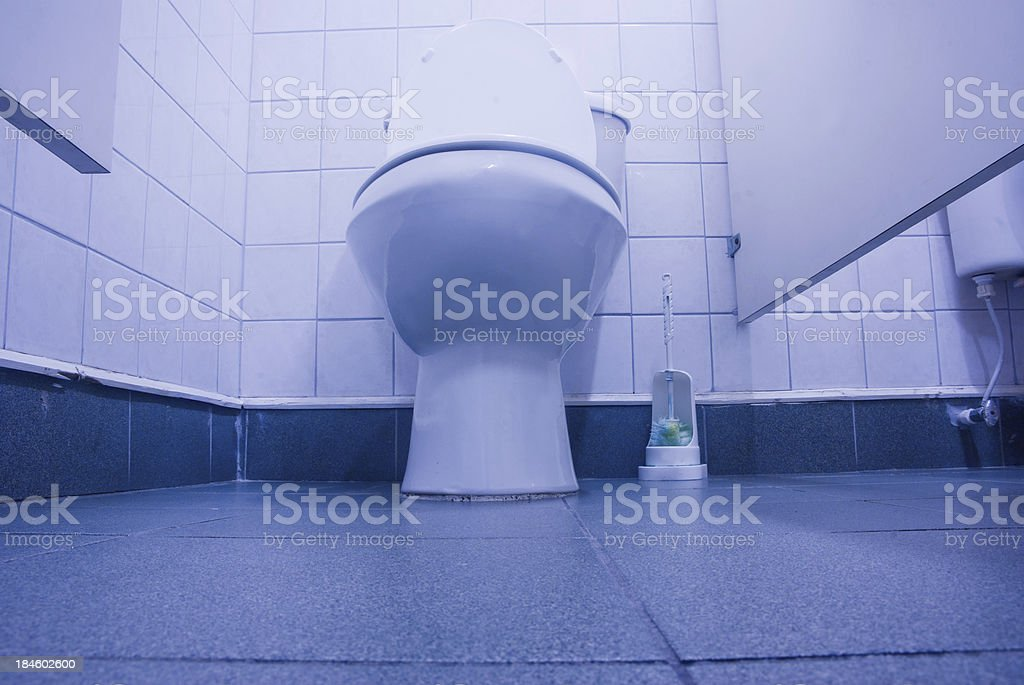 toilet bowl and cleaning brush stock photo