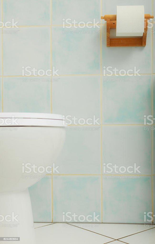 Toilet bowl in bathroom closeup. stock photo