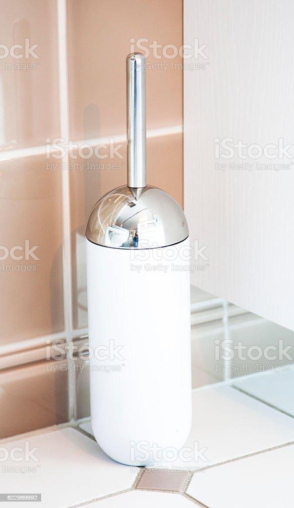Toilet Brush in a bathroom stock photo