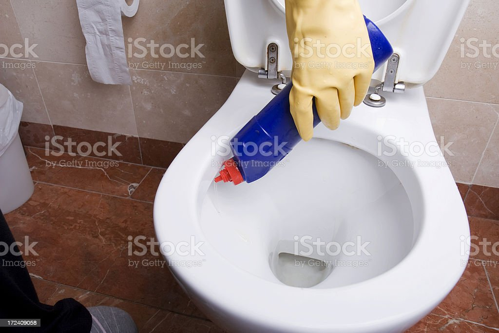 toilet cleaning stock photo