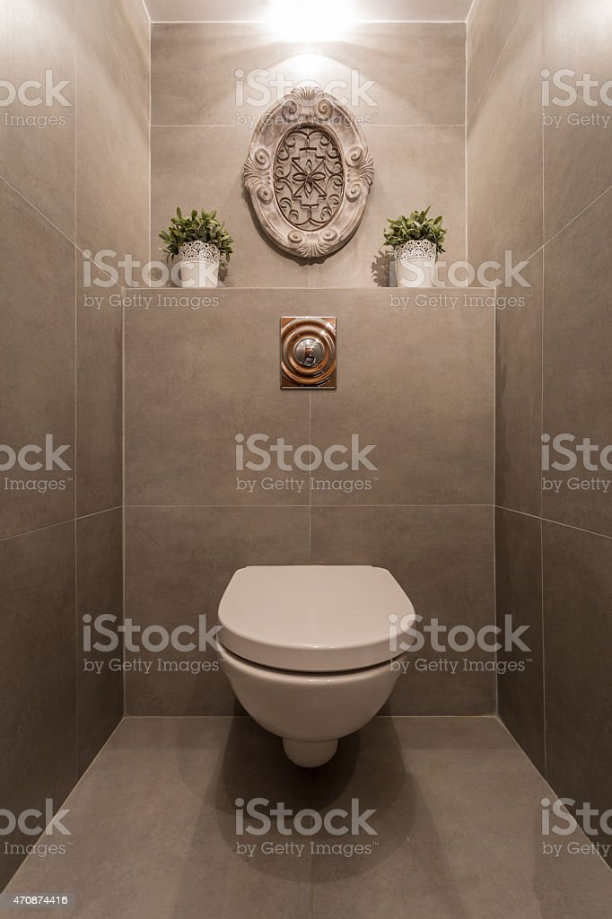 A toilet cubicle with modern interior design stock photo