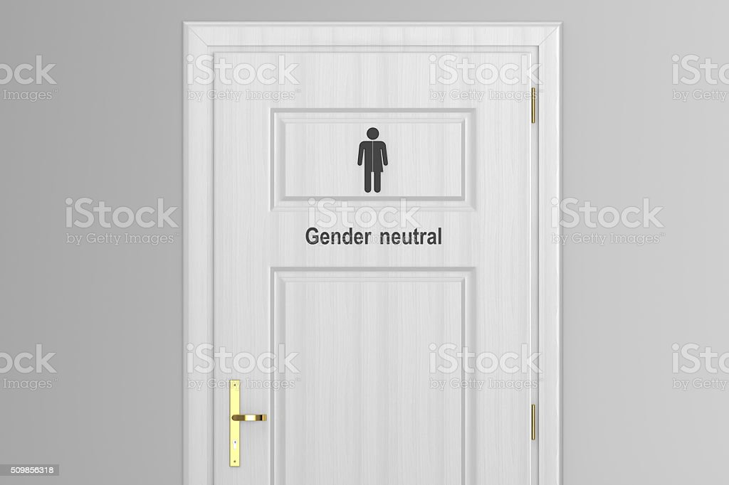 toilet door for gender neutral stock photo
