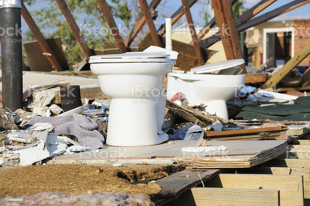 Toilet exposed after tornado royalty-free stock photo