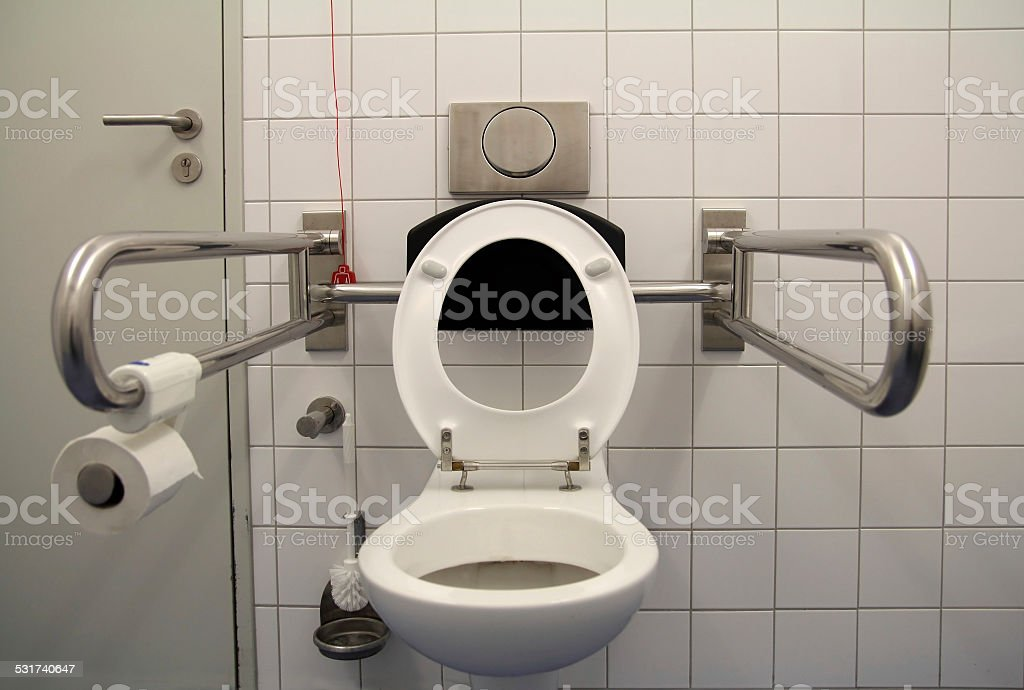 toilet for disabled stock photo