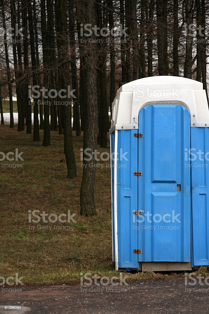 Toilet in a forest stock photo