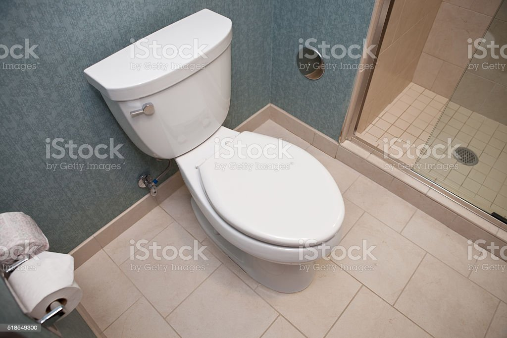 Toilet in a hotel room stock photo