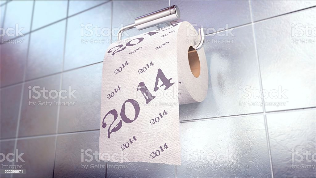 Toilet Paper 2014 year stock photo