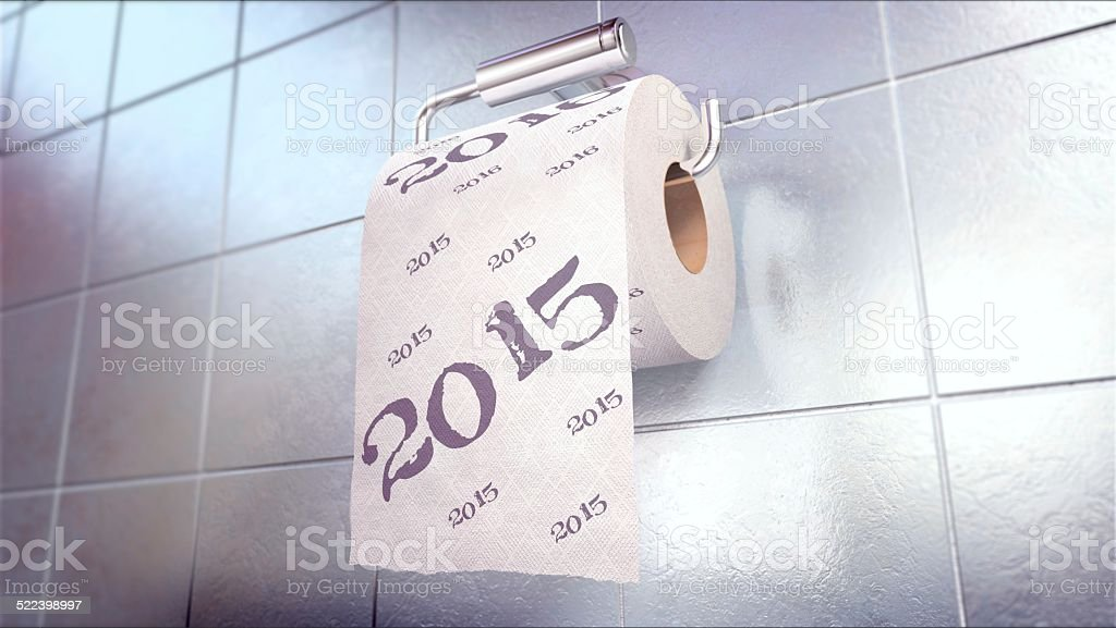 Toilet Paper 2015 year stock photo