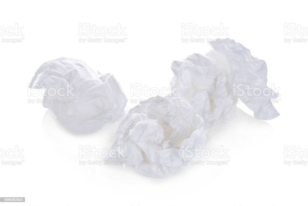 toilet paper balls isolated on white background stock photo