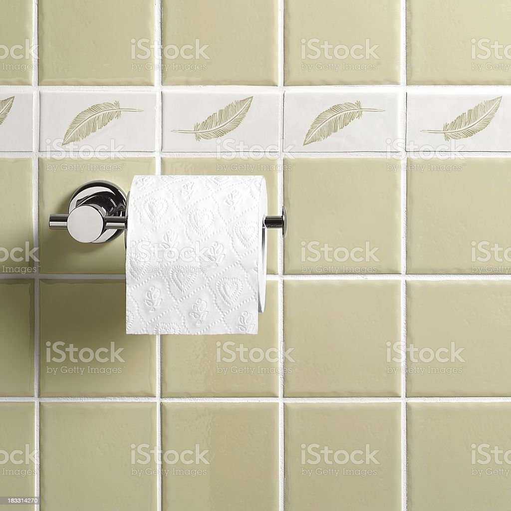 Toilet paper hanging in the bathroom royalty-free stock photo